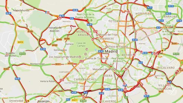 Caos circulatorio en Madrid con las primeras lluvias del otoño
