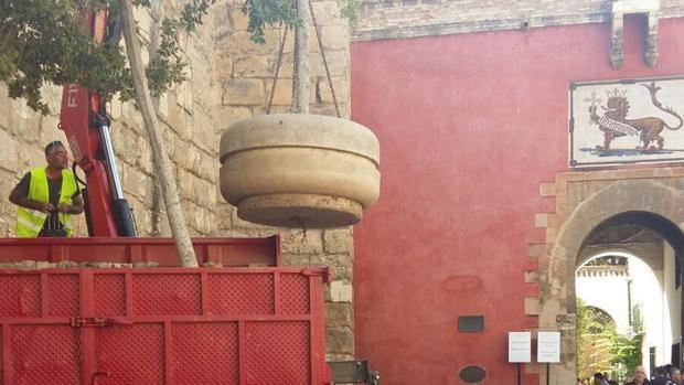 Rodean de maceteros la muralla del Alcázar de Sevilla para reforzar la seguridad