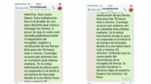 Ferraz desmiente al alcalde de Jun y muestra los mensajes que se le enviaron