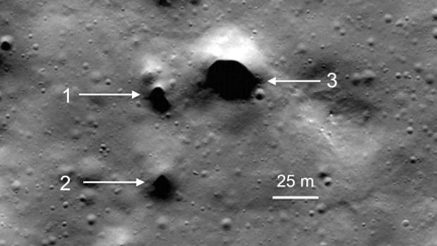 Hallan las entradas a una red de pasadizos subterráneos en el polo norte de la Luna