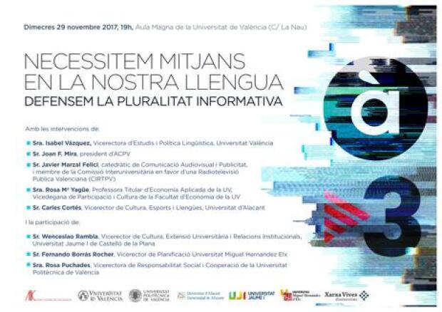 ACPV y las universidades públicas valencianas celebran un acto para reclamar la vuelta de las emisiones de TV3