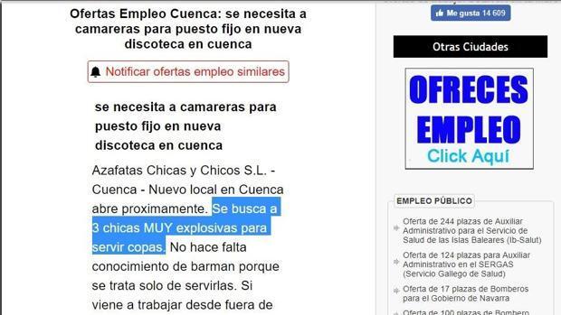 Denuncian una oferta laboral en Cuenca que busca mujeres «muy explosivas» para servir copas