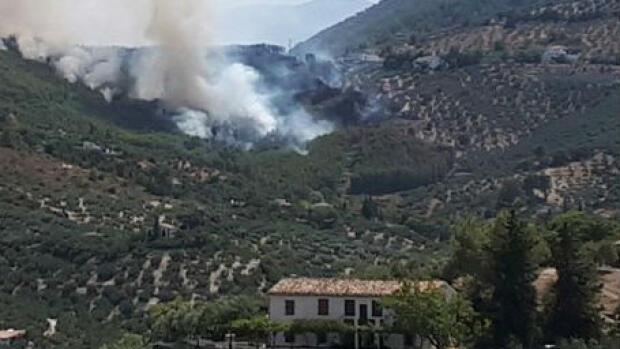 Un incendio forestal en Los Villares obliga a desalojar viviendas y un restaurante