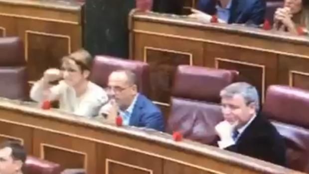 Una diputada independentista le hace un corte de mangas a Toni Cantó en el Congreso