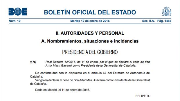 El Rey no agradecerá los «servicios prestados» a Puigdemont, como tampoco lo hizo con Mas