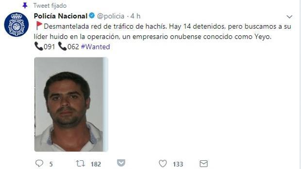 La Policía pide ayuda en Twitter por primera vez para buscar al «Yeyo», el gran narco del hachís