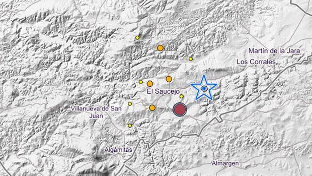 Hasta diez terremotos se registran en la Sierra Sur de Sevilla desde el mediodía de este jueves