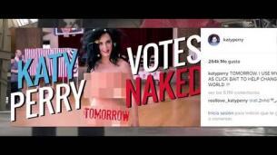 Katy Perry pide desnuda el voto para Clinton