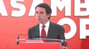 """Aznar critica que quienes quieren """"destruir la nación"""" pretendan utilizar las instituciones del Estado """"cuya legitimidad niegan"""""""