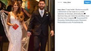 El primer beso de Messi y Antonella como marido y mujer
