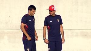Nolito y Corchia se ejercitan por primera vez en las instalaciones del Sevilla