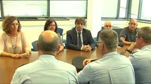 Puigdemont llega a Cambrils para visitar a los Mossos y conocer los detalles de los sucesos
