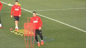 Simeone ultima detalles en el último entrenamiento antes del derbi