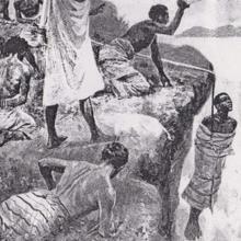 Esta es una de las muchas torturas que sufrieron los habitantes de Madagascar. Eran alzados sobre acantilados con una cuerda que poco a poco se deshacía hasta dejar caer al «culpable»