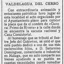 Recorte de prensa de 1927